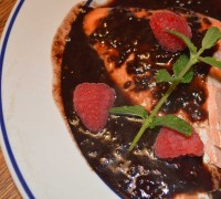 Baked Salmon with Raspberry Balsamic Sauce