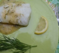Baked Halibut with Lemon Dill Sauce